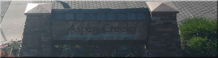 Sign in front of Aspen Creek