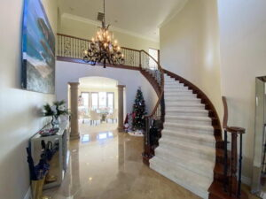 Entry With Sweeping Stair Case of Ocean Of San Clemente Ocean View Home For Lease