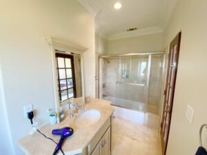 Bath Shower and Sink Of Up Stairs Bedroom of Ocean Of San Clemente Ocean View Home For Lease